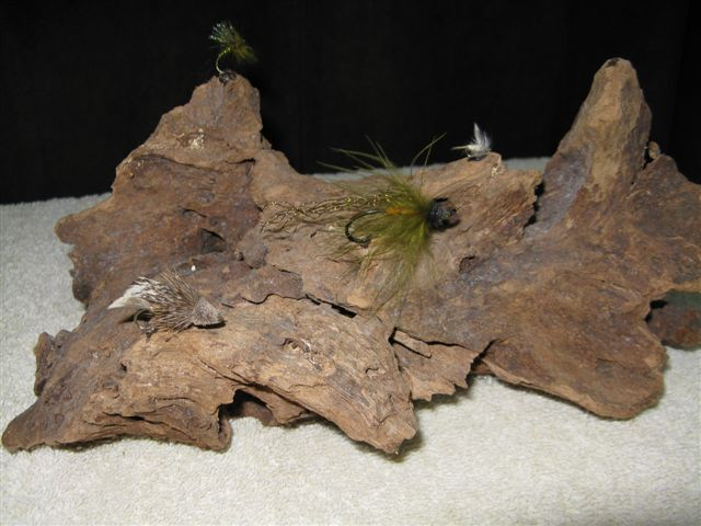 Flies Mounted on Driftwood